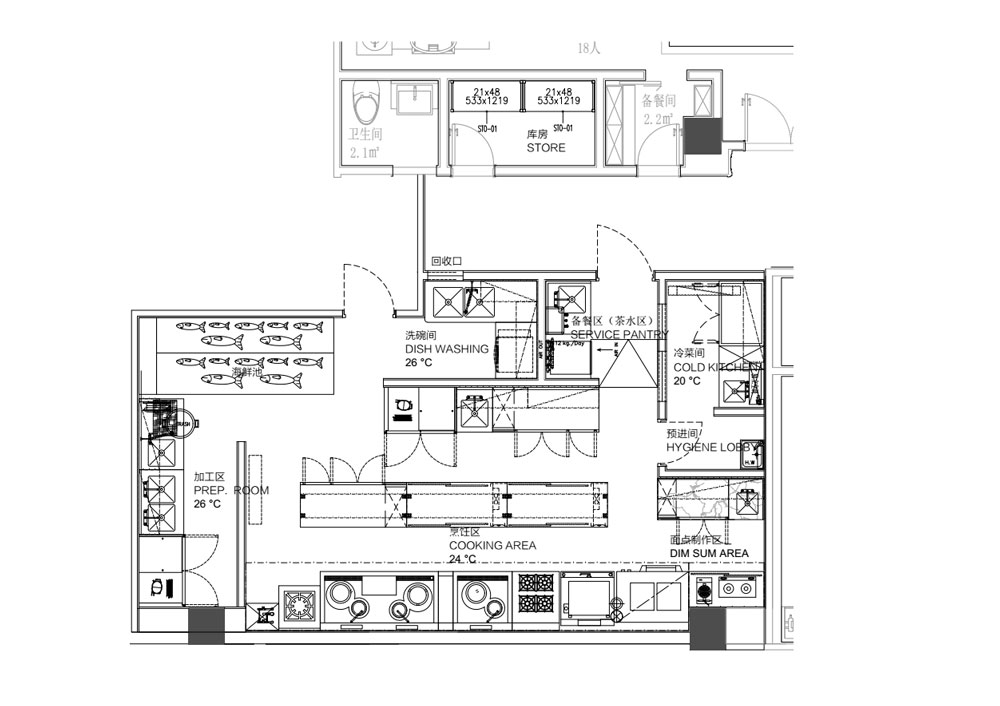 首頁 整體廚房規劃設計方案 餐飲廚房方案      洗消區應具有餐具清洗